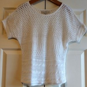 Loft Sweater White Open Knit Linen Small